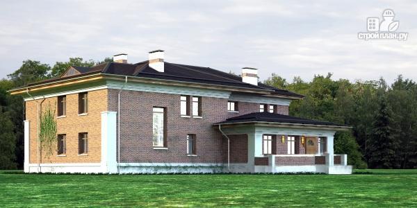 Фото: проект двухэтажный дом из газобетона с террасой и зимним садом