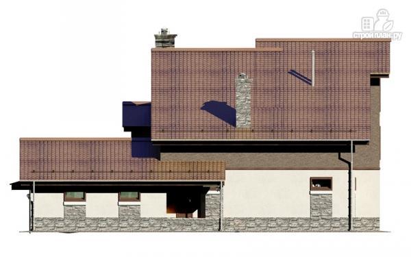 Фото 6: проект загородное имение с террасой, балконом, сауной и гаражом на две машины