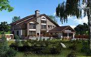 Проект загородное имение с террасой, балконом, сауной и гаражом на две машины