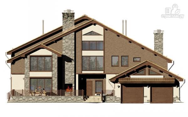 Фото 4: проект загородное имение с террасой, балконом, сауной и гаражом на две машины