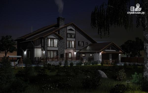 Фото 7: проект загородное имение с террасой, балконом, сауной и гаражом на две машины