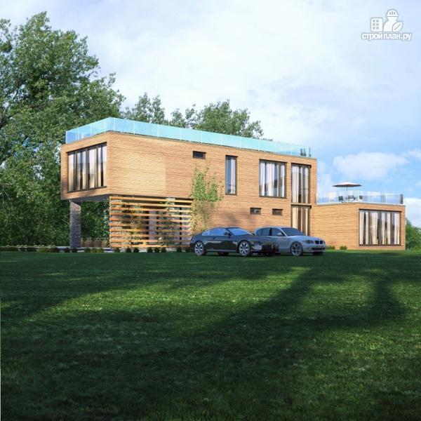 Фото 5: проект дом с плоской эксплуатируемой крышей, террасой и гаражом