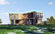 Фото: дом с плоской эксплуатируемой крышей, террасой и гаражом