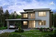 Проект загородный дом с навесом для а/м
