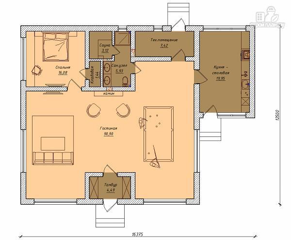 Фото 2: проект одноэтажный гостевой домик