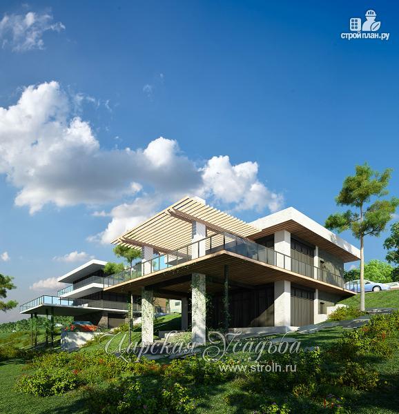 Фото: проект дом на склоне с большой террасой