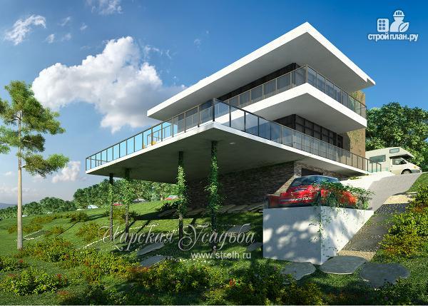 Фото: проект дом на склоне с большой террасой и с гаражом