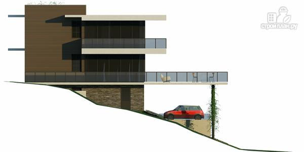 Фото 8: проект дом на склоне с большой террасой и с гаражом