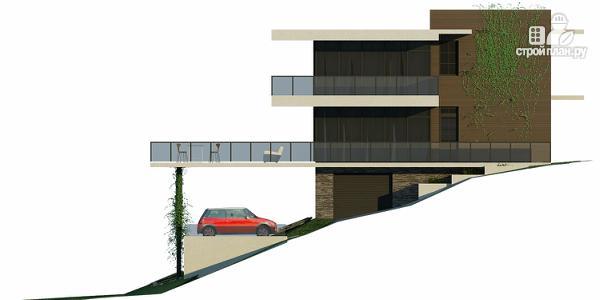 Фото 7: проект дом на склоне с большой террасой и с гаражом
