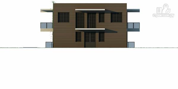 Фото 6: проект дом на склоне с большой террасой и с гаражом