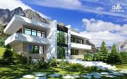 Проект дом на склоне с балконами