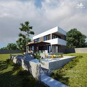 Проект оригинальный дом с плоской кровлей