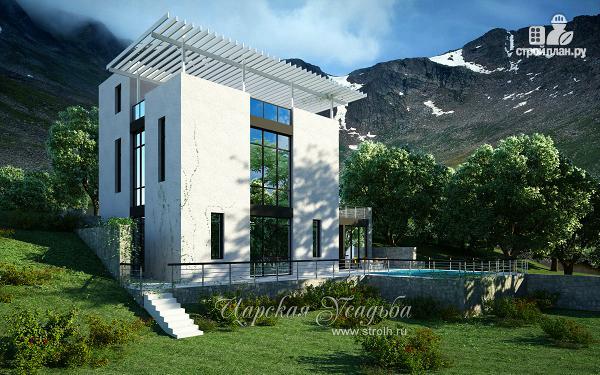 Фото: проект дом на склоне с двумя большими терассами