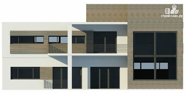 Фото 6: проект дом с плоской кровлей с навесом на две машины