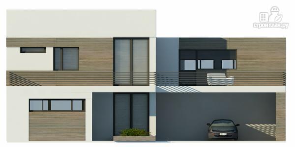 Фото 7: проект дом с плоской кровлей с навесом на две машины