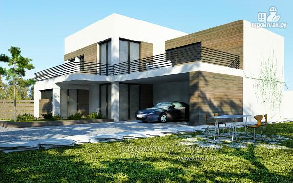 Фото: проект дом с плоской кровлей с навесом на две машины