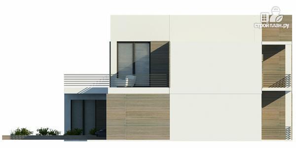 Фото 5: проект дом с плоской кровлей с навесом на две машины