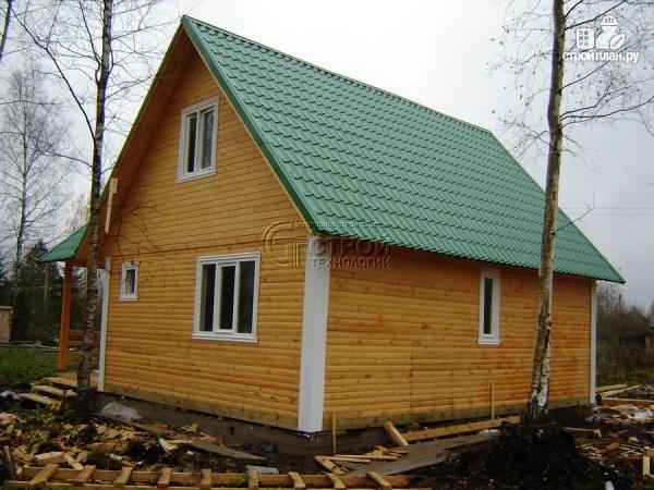 Фото 13: проект загородный дом 8х8 мсмансардой и двумя террасами