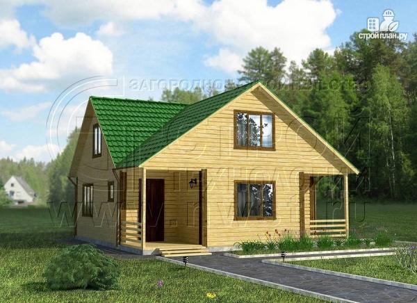 Фото: проект загородный дом 8х8 мсмансардой и двумя террасами