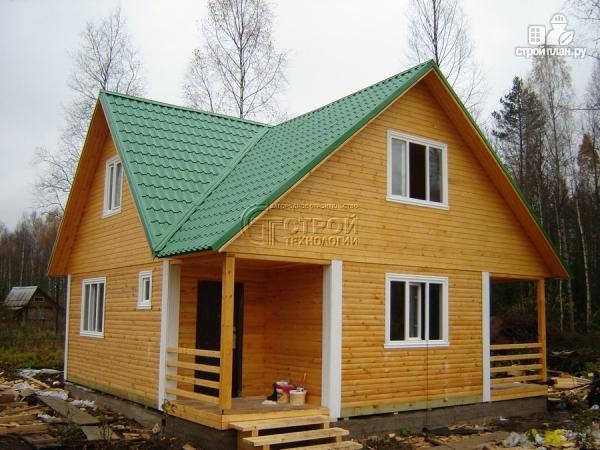 Фото 14: проект загородный дом 8х8 мсмансардой и двумя террасами