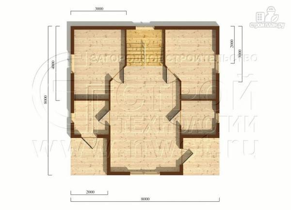 Фото 5: проект загородный дом 8х8 мсмансардой и двумя террасами
