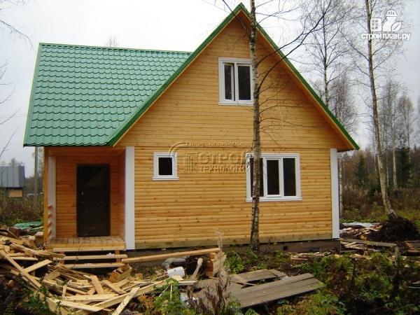 Фото 12: проект загородный дом 8х8 мсмансардой и двумя террасами