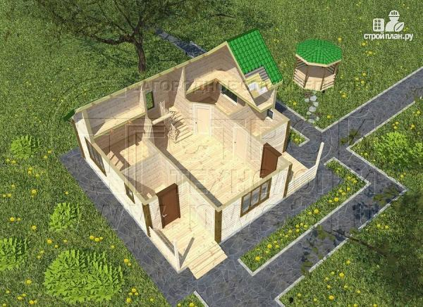 Фото 4: проект загородный дом 8х8 мсмансардой и двумя террасами