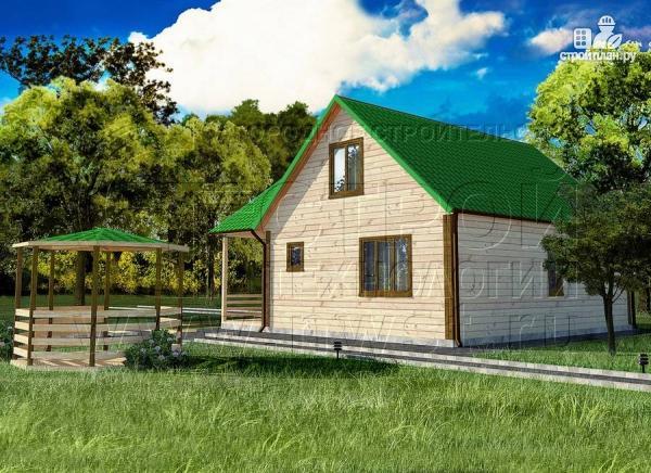 Фото 2: проект загородный дом 8х8 мсмансардой и двумя террасами