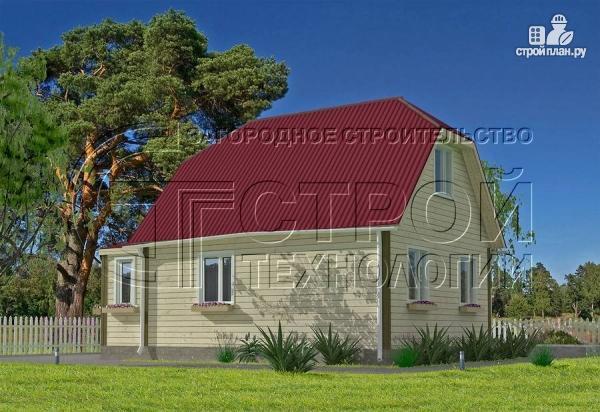 Фото 3: проект загородный дом 6х7 мс мансардой и брусовой верандой