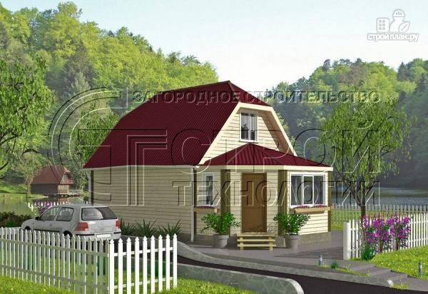 Фото 2: проект загородный дом 6х7 мс мансардой и брусовой верандой
