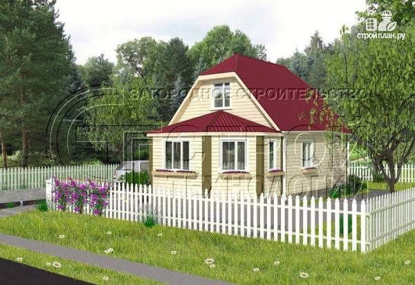 Фото: проект загородный дом 6х7 мс мансардой и брусовой верандой
