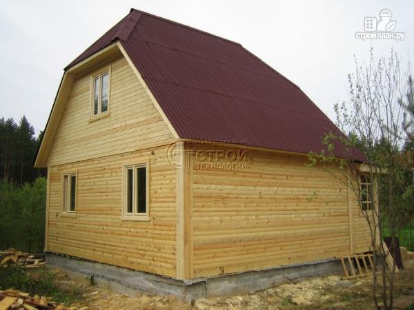 Фото 12: проект загородный дом 6х7 мс мансардой и брусовой верандой