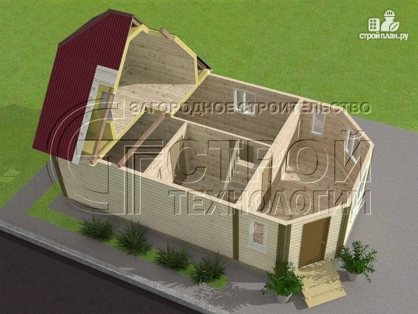 Фото 4: проект загородный дом 6х7 мс мансардой и брусовой верандой