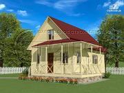 Фото: загородный дом6х8 м с мансардой и террасой