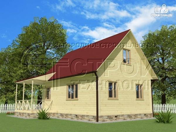 Фото 2: проект загородный дом6х8 м с мансардой и террасой