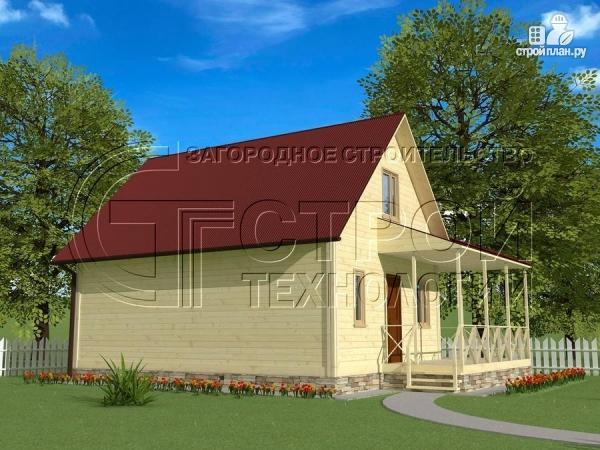 Фото 3: проект загородный дом6х8 м с мансардой и террасой