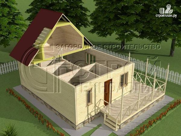 Фото 4: проект загородный дом6х8 м с мансардой и террасой