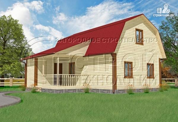 Фото: проект загородный дом 6х9 мс мансардой, террасой и хоз. помещением