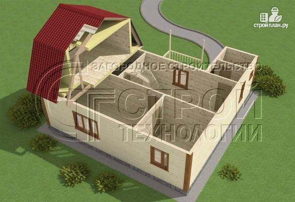 Фото 4: проект загородный дом 6х9 мс мансардой, террасой и хоз. помещением