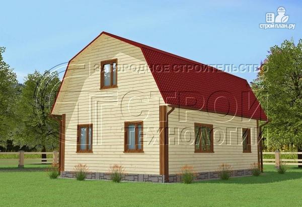 Фото 2: проект загородный дом 6х9 мс мансардой, террасой и хоз. помещением