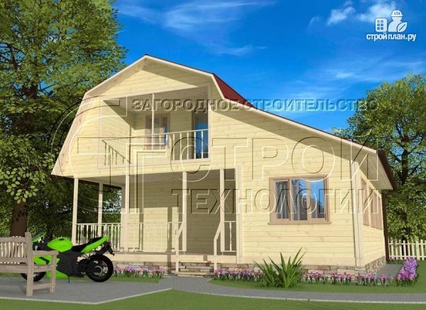 Фото 2: проект загородный дом 6х6 мс террасой, верандой, лоджией и мансардным этажом