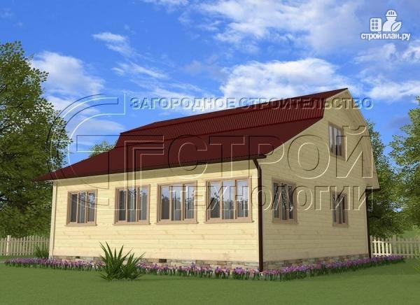 Фото: проект загородный дом 6х6 мс террасой, верандой, лоджией и мансардным этажом