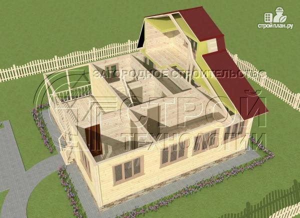 Фото 4: проект загородный дом 6х6 мс террасой, верандой, лоджией и мансардным этажом
