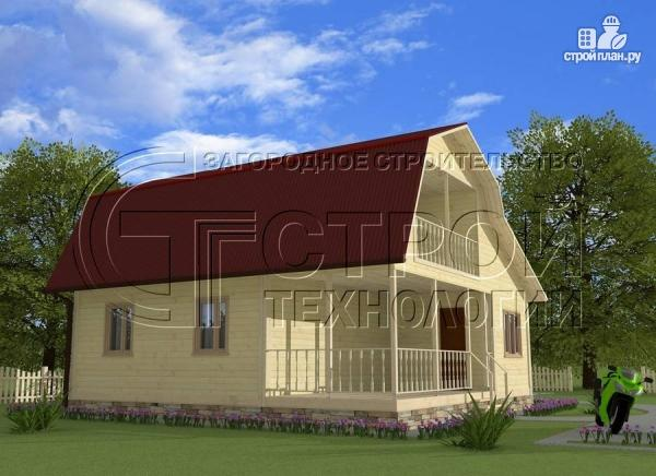 Фото 3: проект загородный дом 6х6 мс террасой, верандой, лоджией и мансардным этажом