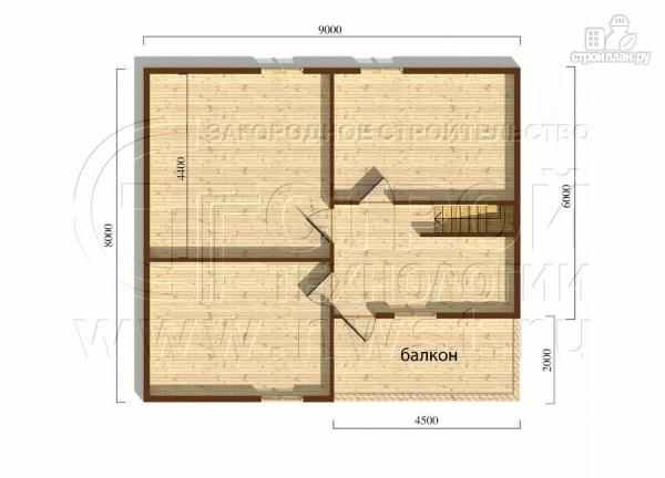 Фото 6: проект загородный дом 8х9 м с эркером, террасой, лоджией и мансардным этажом