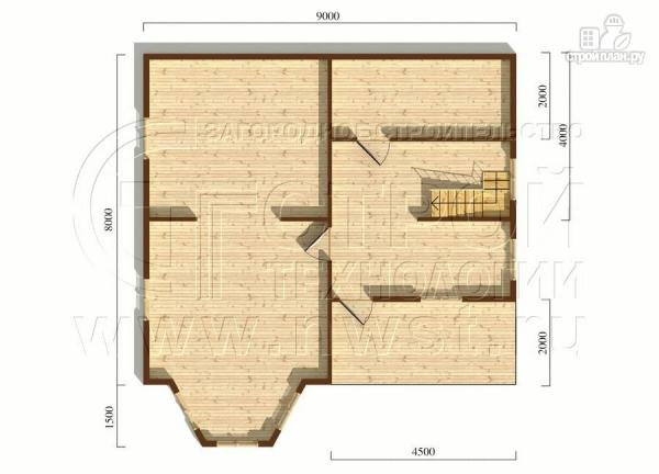 Фото 5: проект загородный дом 8х9 м с эркером, террасой, лоджией и мансардным этажом