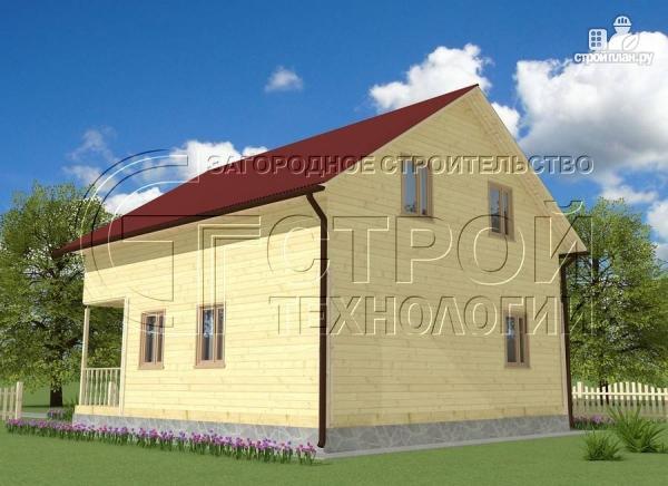 Фото 3: проект загородный дом 8х9 м с эркером, террасой, лоджией и мансардным этажом