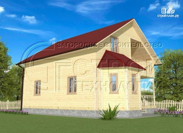 Фото 2: проект загородный дом 8х9 м с эркером, террасой, лоджией и мансардным этажом