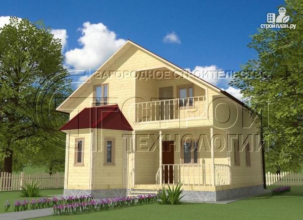 Фото: проект загородный дом 8х9 м с эркером, террасой, лоджией и мансардным этажом