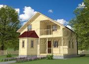 Проект загородный дом 8х9 м с эркером, террасой, лоджией и мансардным этажом